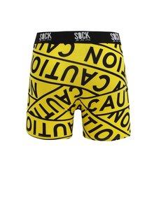 Boxeri galbeni cu print si talie elastica cu logo - Sock It to Me Caution Tape