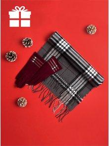 Vínovo-šedý dámský set vlněných rukavic a šály Something Special