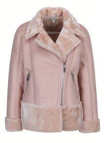 Jacheta roz prafuit din piele sintetica cu blana artificiala Miss Selridge