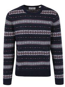 Tmavomodrý vzorovaný vlnený sveter Original Penguin Fairisle