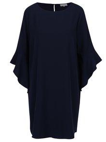 Tmavě modré volné šaty s volánkovým rukávem Apricot