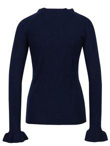 Pulover tricotat albastru cu volane discrete - Apricot