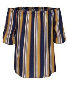 Žlto-modrá pruhovaná blúzka s odhalenými ramenami Apricot