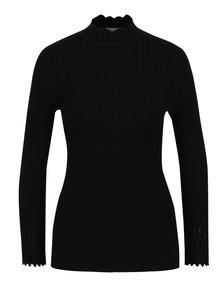 Pulover negru tricotat cu guler inalt si terminatii ondulate - Apricot