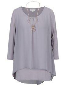 Bluza gri deschis cu slit si  lant cu pandantiv - Apricot