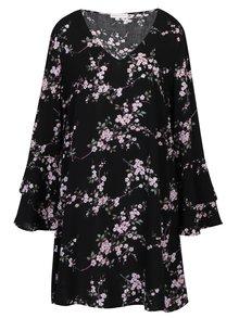 Čierne vzorované šaty s dlhým volánovým rukávom Apricot