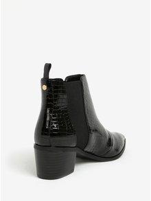 Čierne lesklé chelsea topánky na podpätku Miss KG Sharpe