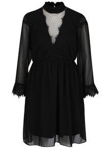 Čierne šaty s priesvitnými rukávmi a výstrihom VERO MODA Maggi