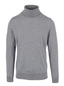 Šedé pánské žíhané vlněné tričko s rolákem Tommy Hilfiger