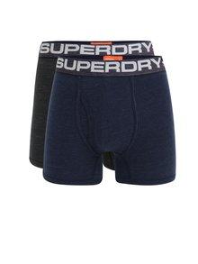 Súprava dvoch pánskych boxeriek v sivej a modrej farbe Superdry