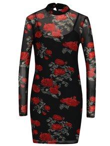 Rochie mini neagra cu print floral si maneci transparente Noisy May Naya