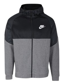 Černo-šedá pánská mikina s kapucí Nike NSW