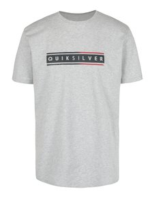 Tricou gri deschis cu print pentru barbati - Quiksilver Classic Daily Surf