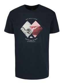 Tmavomodré pánske regular fit tričko s potlačou Quiksilver Pleasure Zone