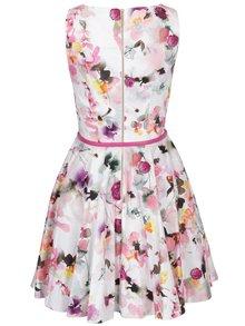 Krémovo-růžové květované šaty s tmavě růžovým páskem Closet
