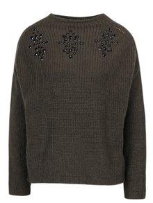 Khaki svetr s kamínky ONLY Siv