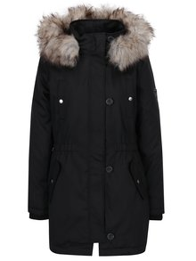 Čierna zimná parka s kapucňou a umelým kožúškom ONLY Iris