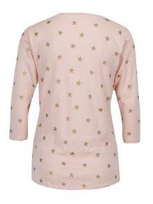Svetloružové tričko s potlačou hviezd ONLY Bone