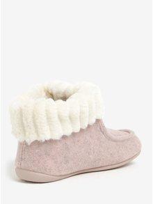 Papuci de casa roz cu blanita artificiala pentru femei - OJJU