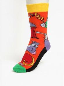 Oranžové vzorované unisex ponožky Happy Socks Monsters