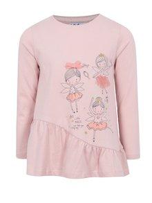 Ružové dievčenské tričko s dlhým rukávom a volánom 5.10.15.