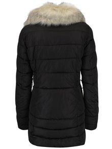 Černá dámská prošívaná bunda s umělou kožešinou Geox