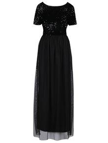 Čierne maxišaty s tylovou sukňou a topom s flitrami ONLY Confidence