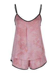 Růžový set pyžama s černým lemem a masky na spaní DKNY