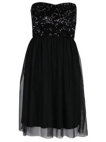 Černé šaty bez ramínek s tylovou sukní a flitry ONLY Confidence