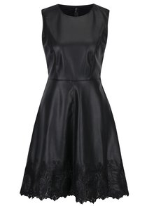 Rochie neagra din piele sintetica cu detaliu din dantela ONLY Macy