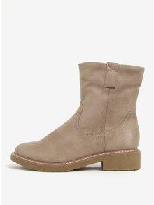 Béžové zimní kotníkové boty v semišové úpravě ONLY Daria