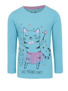 Modré dievčenské tričko s dlhým rukávom a potlačou 5.10.15.