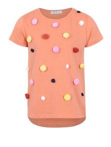 Oranžové dievčenské tričko s brmbolčekmi 5.10.15.