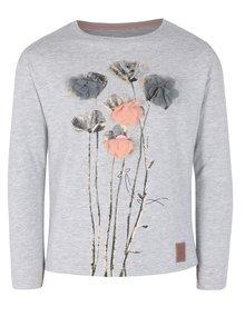 Sivé dievčenské tričko s dlhým rukávom a potlačou 5.10.15.