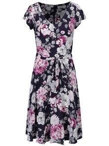 Rochie bleumarin cu print floral si cordon in talie - Billie & Blossom Tall