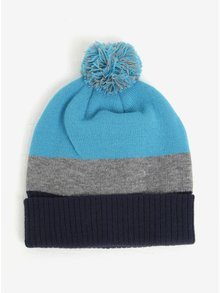 Modrá pruhovaná chlapčenská čiapka s brmbolcom 5.10.15.
