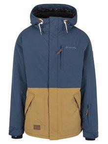 Hnědo-modrá pánská funkční voděodolná zimní bunda s kapucí MEATFLY Diego