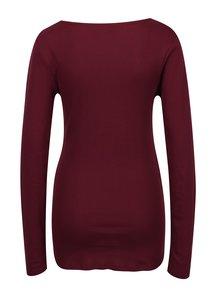 Vínové rebrované tričko s dlhým rukávom Dorothy Perkins Tall