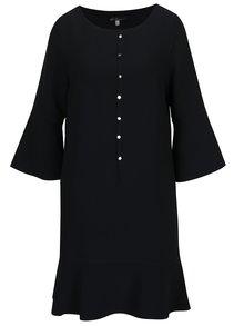Čierne voľné šaty s volánom a zvonovými rukávmi Lena Criveanu
