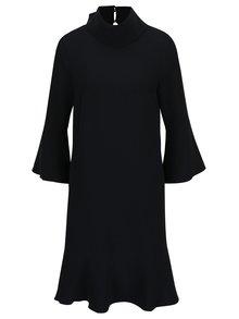 Čierne voľné šaty s vysokým golierom a zvonovými rukávmi Lena Criveanu