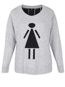 Šedý svetr s motivem postavy Ulla Popken