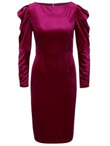 Růžové sametové šaty s nařasenými rukávy Dorothy Perkins