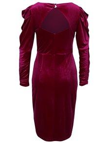 Ružové zamatové šaty s nariasenými rukávmi Dorothy Perkins
