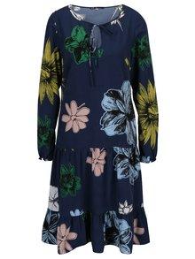 Tmavomodré kvetované šaty s volánom a prestrihom v dekolte Lena Criveanu