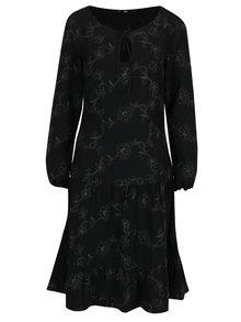Čierne vlnené kvetované šaty s volánom a prestrihom v dekolte Lena Criveanu
