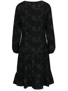 Rochie neagra din lana cu broderie florala si pliuri Lena Criveanu