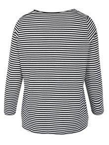 Bílo-černé pruhované tričko s dlouhým rukávem Ulla Popken
