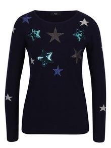 Tmavě modrý svetr s motivem hvězd M&Co