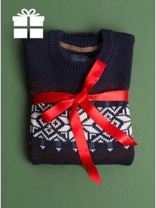 Tmavě modrý slim fit svetr s norským vzorem a příměsí vlny Blend