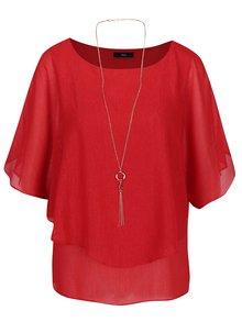 Bluza rosie cu fir metalic si colier M&Co